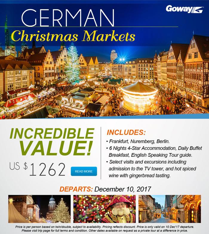 Incredible Value - US$1262 includes Frankfurt, Nuremberg,            Berlin. See            our site for details.