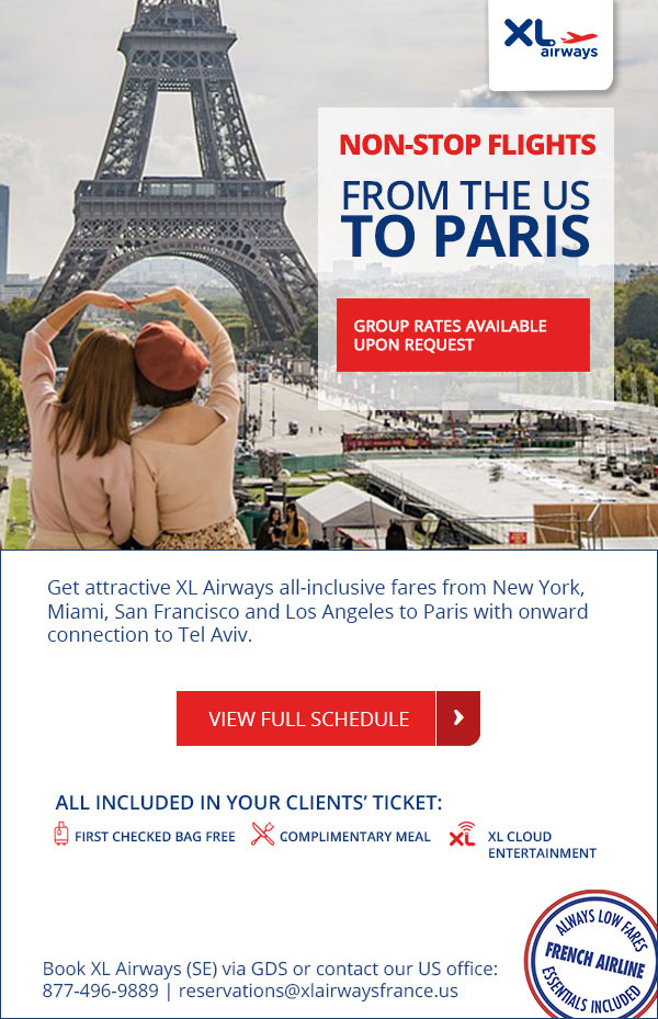 Non-stop flights from the US to Paris. Book XL Airways (SE) via GDS or contact our US office at 877.496.9889 or reservations@xlairwaysfrance.us