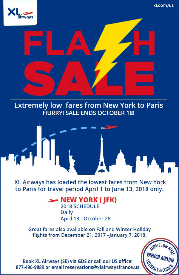 Flash Sale - Extremely low fares from New York to Paris. Ends Oct. 18.